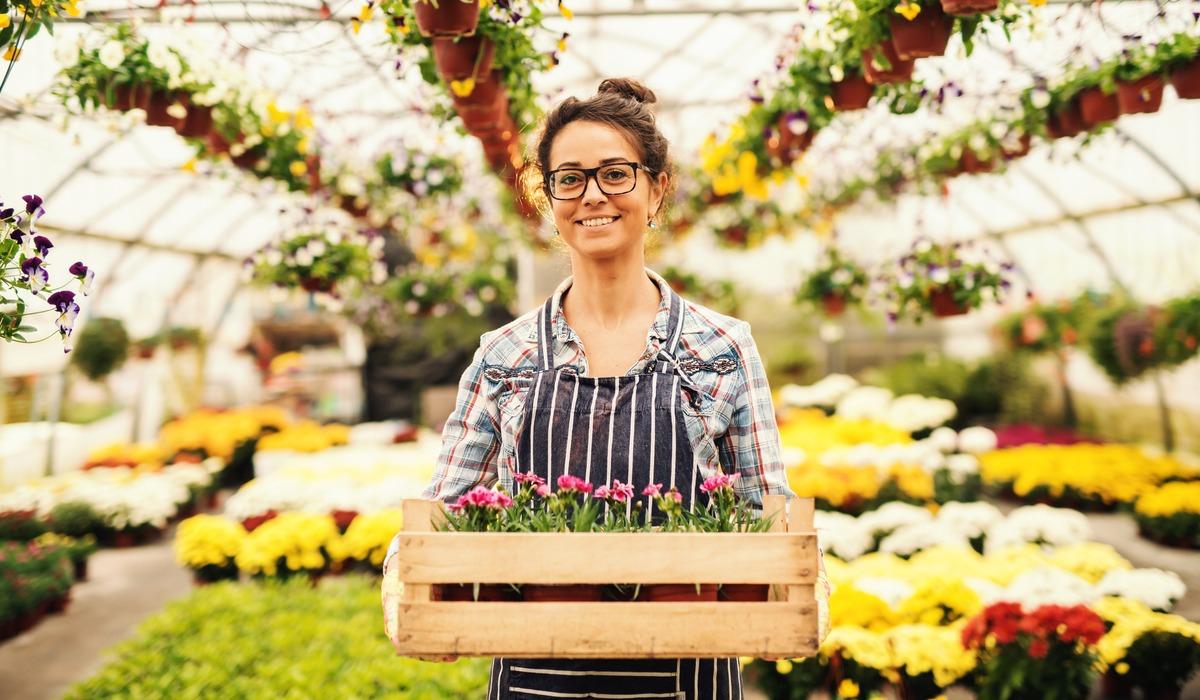 vrouw, bloemen, tuinbouw